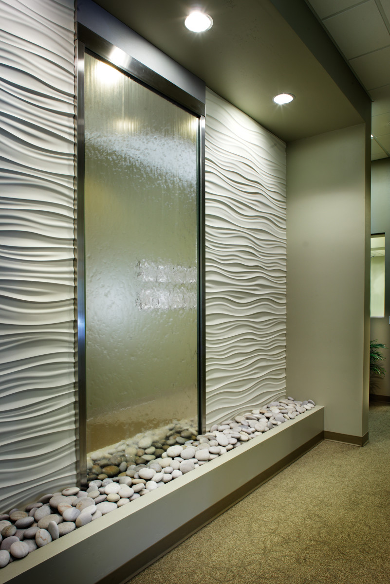 Spa like setting for dental health care office design for Office wall interior